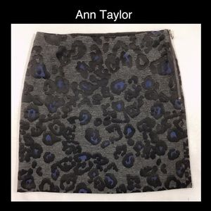 😍Gorgeous Ann Taylor Gray & Blue Cheetah Skirt😍